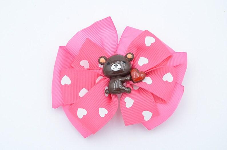 Big Huggable Valentine Bear Pink Pinwheel Hair bow