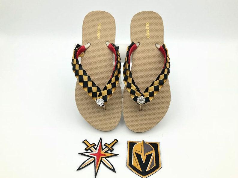 ca66b86f5a7 Vegas Golden Knights Hockey inspired Custom Flip Flops Gold