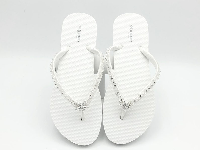 b6c817610 White Bridal Flip Flops Starfish Flip Flops Beach Wedding