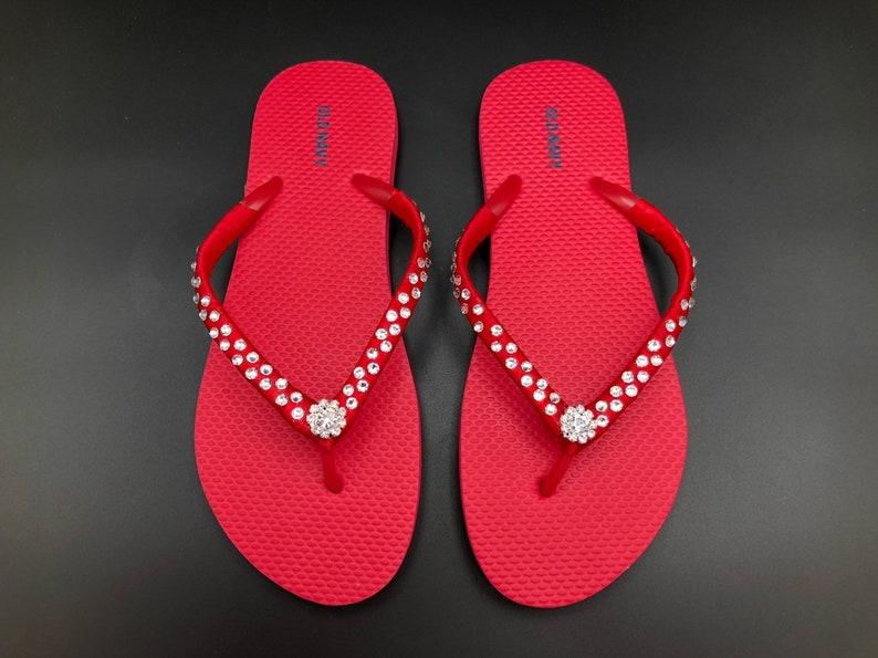 3d6cf471bec7d Custom Women Red Old Navy Flip Flops - Swarovski Crystal Flip Flops - Old  Navy Flip flops, Women Flip Flops - Satin Wrapped Straps