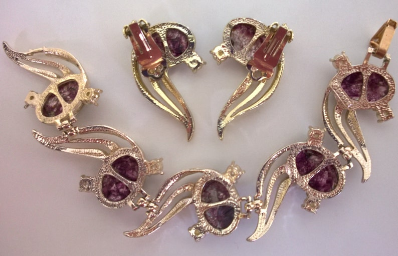 Dodds amethyst opal art glass and pearl bracelet and earrings signed demi-parure Selro look