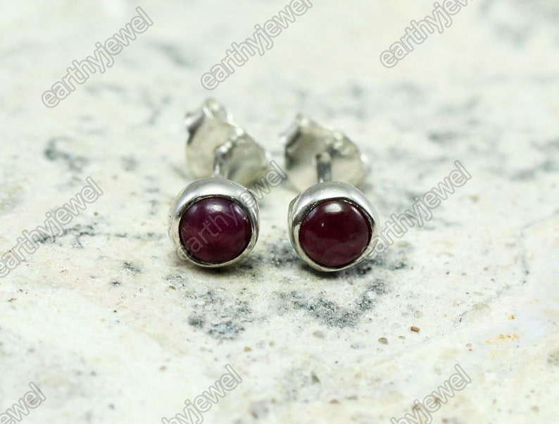 Natural Ruby Silver Stud Earrings Gemstone Post Earrings Gold Vermeil or 925 Sterling Silver Studs 4mm Round Cabochons Gems Stone Jewelry