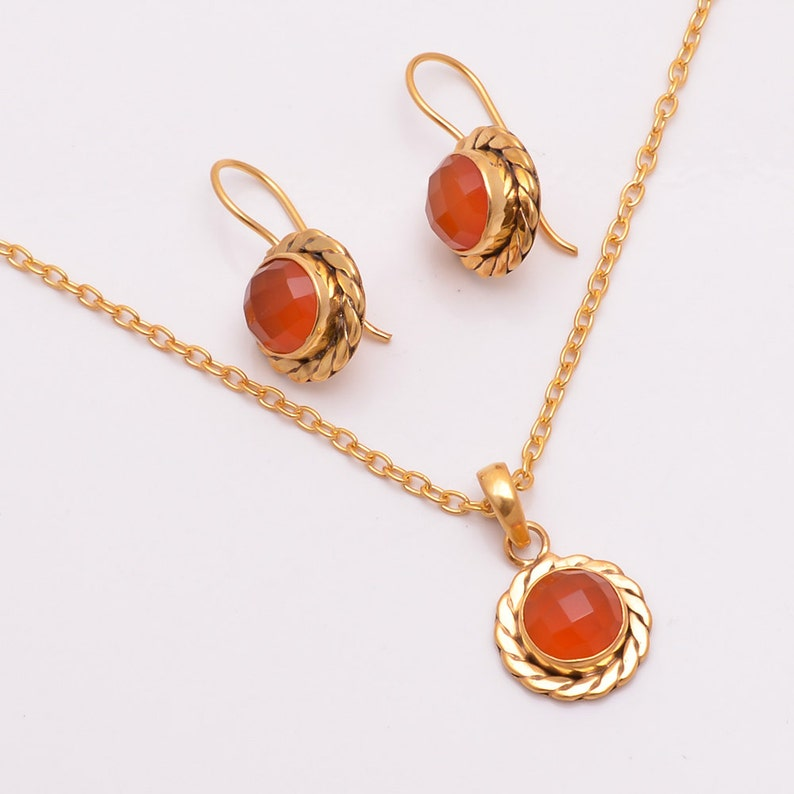 Gold Pendant Set Gemstone Jewelry Chalcedony Earrings Stone Necklace Brides Jewelry Set 14k Gold Plated Natural Red Onyx Pendant Sets