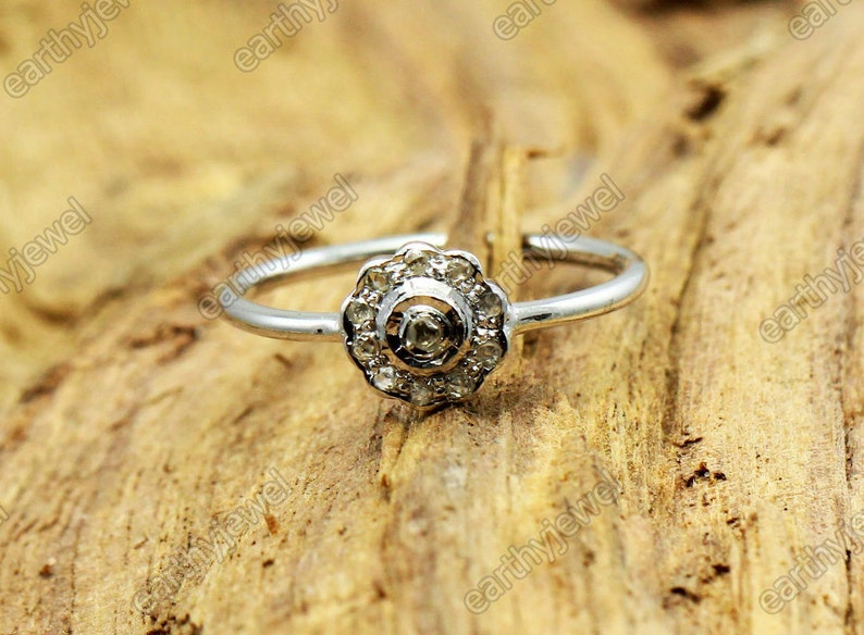 Natural Diamond Ring Handmade Band 925 Sterling Silver Rose Cut Real Diamonds Rings Gemstone Jewelry C-R102