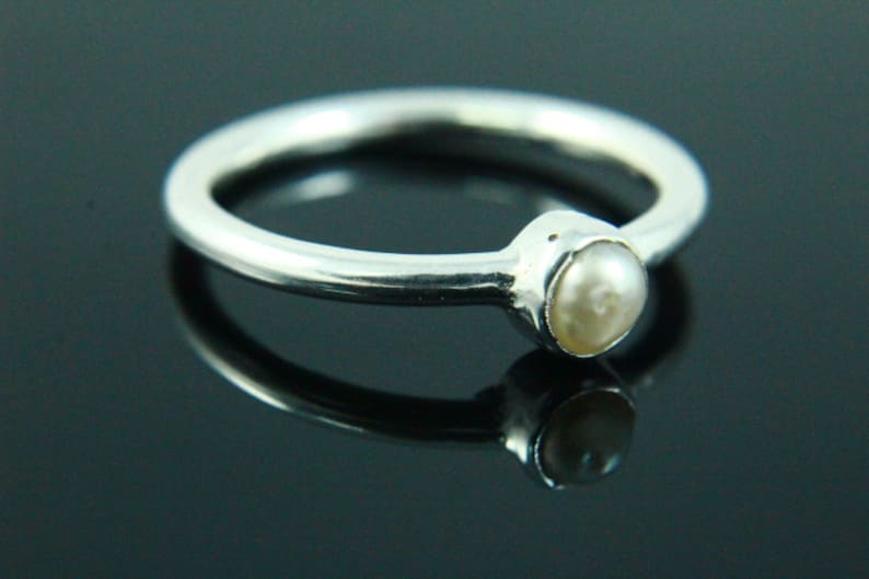 Freshwater Pearl Ring Pearl Ring Silver Ring Pearl Jewelry Handmade Ring 925 Silver Plated