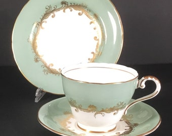 Aynsley Sherwood Vintage China Green Gold Teacup Saucer Side Bread/Butter Plate Trio Replacements Search