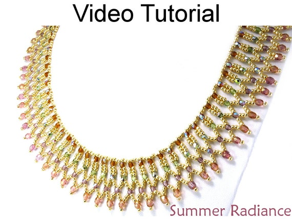 Video Tutorial Necklace Beaded Jewelry Making Pattern Netting Etsy