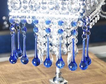 10pcs Crystal Raindrop With Octagon Beads Chandelier Prisms Pendants Lamp Curtain DIY Suncatcher Parts Cobalt Blue