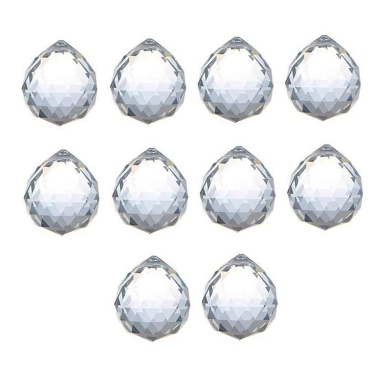 10pcs Yellow Crystal Prisms Ball Pendants Lamp Part Feng Shui Hanging Drop 20mm