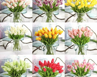 10pcs Artificial Flowers Real Touch Mini PU Tulips Bouquet Artificial Plants for Wedding Room Home Hotel Party Event Christmas Decor