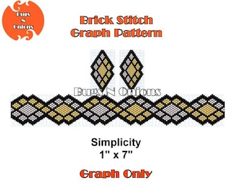 Brick Stitch, Simplicity, Bracelet and Earrings, Brick Stitch Bracelet Pattern, Cuff Pattern, Instant Download