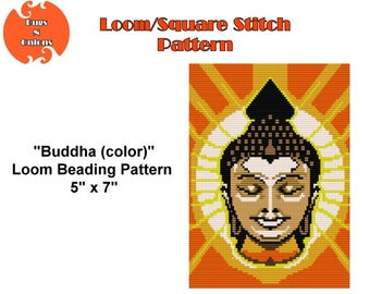 Buddha in colour , Loomed Tapestry Pattern, Square Stitch Pattern, Instant Download