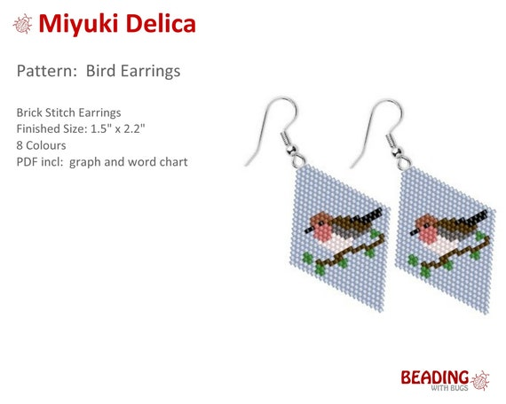 Bird pattern earrings