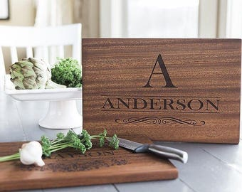 Personalized Cutting Board - Large Mahogany Chopping Board - Custom Cutting Board - Personalized Cutting Board Wedding Gift - 11 Designs