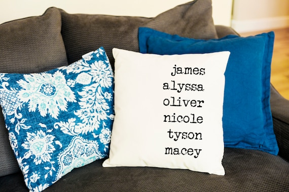 Family Names Throw Pillow Cover