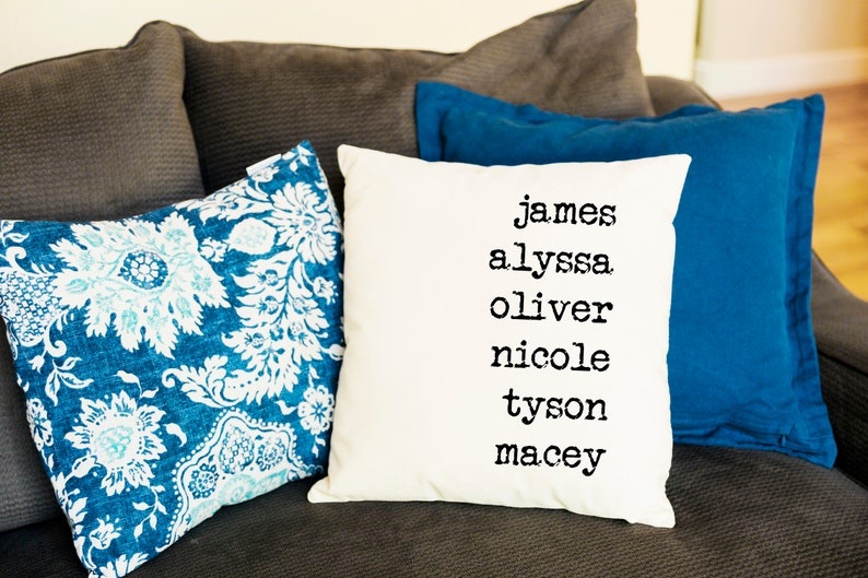 Family Names Throw Pillow Cover  Name Cushion Covers  18 x image 0