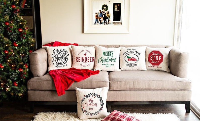 Personalized Christmas Throw Pillow Covers  18 x 18 Cushion image 0