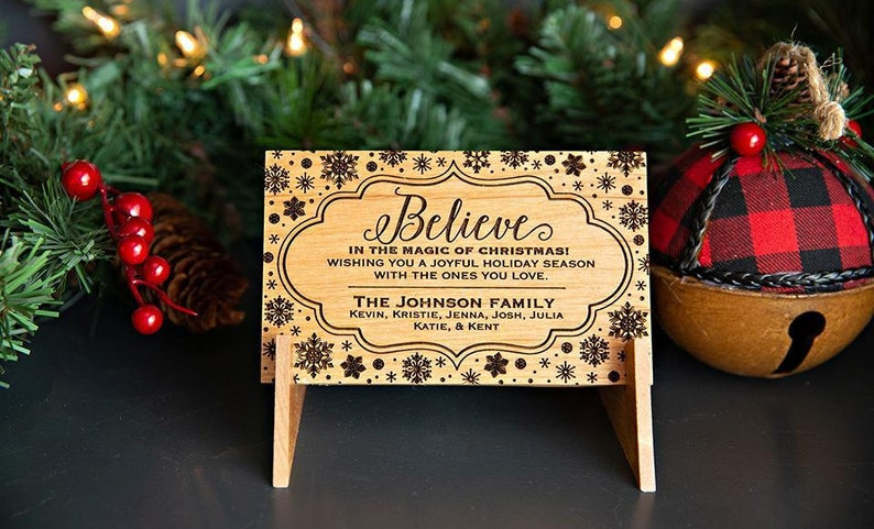 Merry Xmas Greeting Card Unique Christmas Gift Personalized Wooden Christmas Postcards Custom Engraved Holiday Card With Family Name