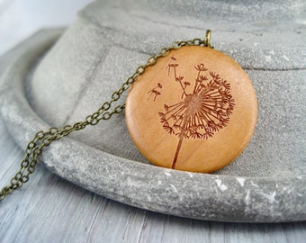 Dandelion necklace wood round medallion dandelion flower necklace dandelion pendant wood round dandelion flower gift for her