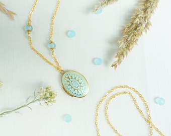 Photo locket gold oval aqua patina czech glass beads boho raw brass