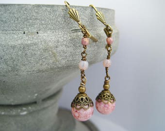 Earrings light pink rosé dangles vintage earrings rose