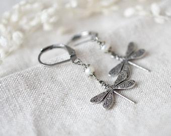 Earrings dragonfly vintage, real freshwater pearls, dragonflies 925 silver