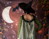 Handmade Dress with cape, Carnival Costume, Black Gothic Witch, bats, Woman Girl