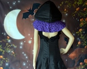 ready to ship Halloween dress, Costume, Handmade Dress, Carnival Costumes, Pagan, Black Cape, Tulle, Witch,Vampire, Gothic, Hooded, Women