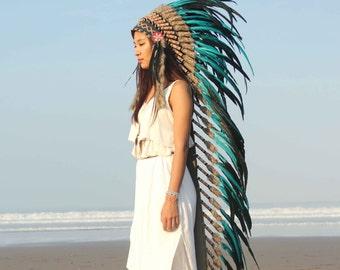 Boho headdress, super long length.chief warbonnet, indian headdress replica