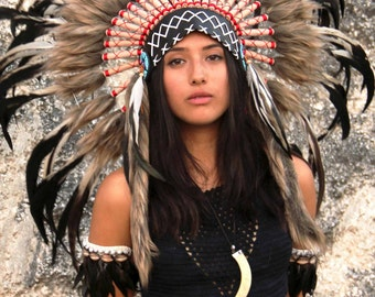 Indian Headdress Replica Black Cream And Red Short Length Warbonnet Native American Style Feather Headpiece