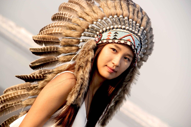 Penacho de plumas bohochic tocado de plumas inspirado indio   Etsy