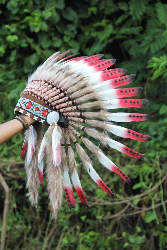 On Sale Feather Headdress Indian Inspired Warbonnet Native Etsy