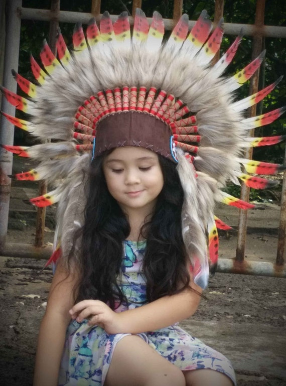 All Size Kid Feather Indian Style Headdress Short Lenght Etsy