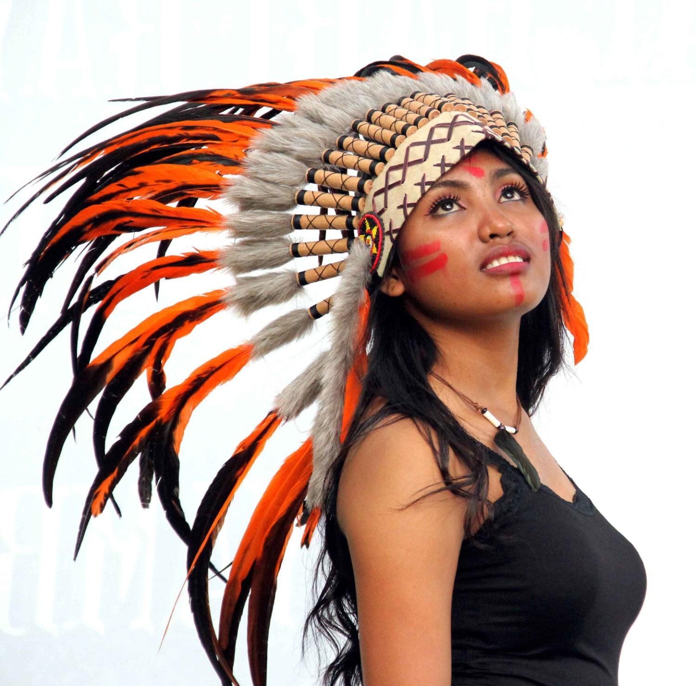 Penacho estilo indio naranja corto penacho de plumas gorro   Etsy