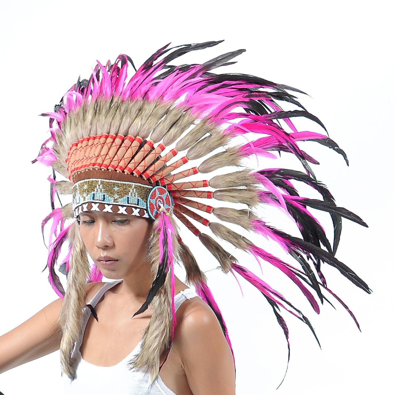 penacho de plumas rosa estilo indio corto tocado estilo jefe   Etsy