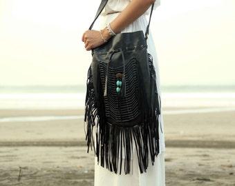 Black leather bag, leather fringe bag, boho bag, bohemian bag, gypsy bag