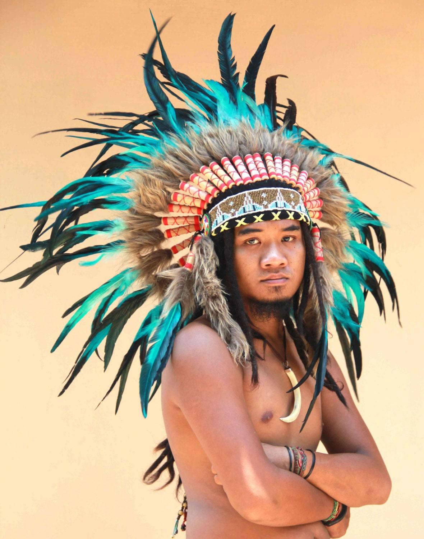 Penacho de plumas estilo Indio nativo americano tocado de   Etsy
