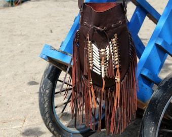 Boho leather bag, dark brown fringed leather bag, boho leather bag, bohemian bag, fringed bag,  gypsy bag,