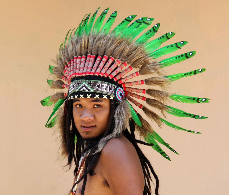 Penacho de plumas verde estilo Indio tocado de plumas   Etsy