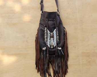 Boho fringed leather bag, antique brown, leather handbag