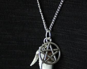 Supernatural themed protective amulet necklace: bottle containing salt, angel wings charm, and pentagram