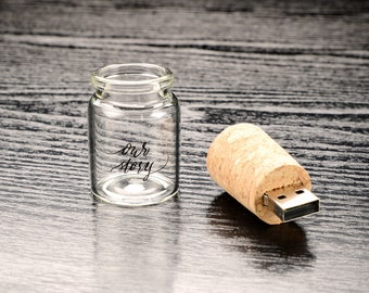 dab551746e Message in a Bottle, Laser Engraved, Our Story, USB Flash Drive, Usb Stick,  Memory Stick, 8GB, 16GB, Wedding Gift, Baby Shower, Anniversary