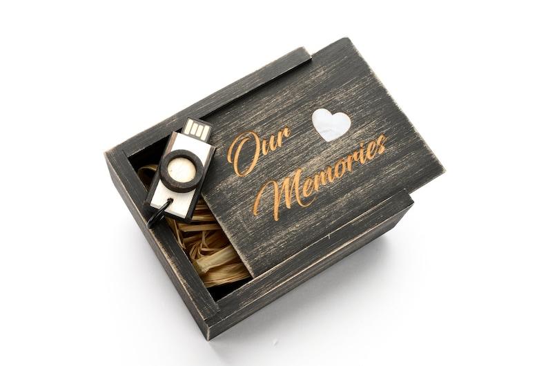Newlywed Gift Anniversary Gift Memory Stick Our Memories Keepsake Box Wedding Photo Box USB Flash Drive Laser Engraved Wedding Gift