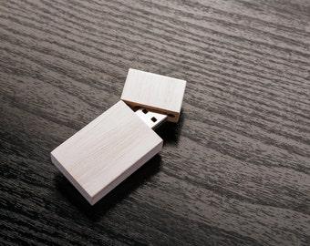 1 Wood Wash 8GB/16GB USB 2.0 Flash Drive - Magnetic Cap - Wooden USB Flash Drive - Woodwash Wedding White.
