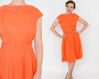Lilli Diamond Dress   50s Orange Sleeveless Chiffon Party Dress   Medium