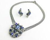 1940s Blue Rhinestone Necklace Earrings Set 40s Blue Brushed Silver Filigree Necklace Set