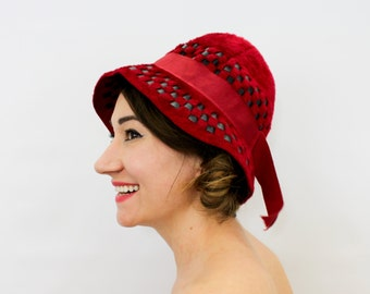 494126f524f 60s Red Wool Mohair Hat