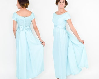 10 UK 1970s Turquoise Prairie Style Prom Dress Size 6 US Sheer w Vertical Stripes and Pale Blue Lining and Puff Short Sleeves