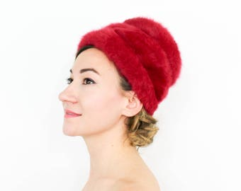 ead4278e 80s Pink Hat | Fuchsia Mohair Knit Hat | Kangol Made in England