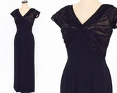 1940s Black Evening Dress 40s Long Black Silk Chiffon Dress Old Hollywood Small